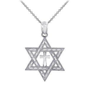 Silver Jewish Star of David Cross Pendant Necklace